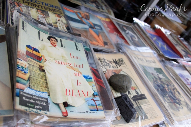 Connie Hanks Photography // ClickyChickCreates.com // Paris Flea Market - vintage fashion magazines - Elle, Echo de la Mode