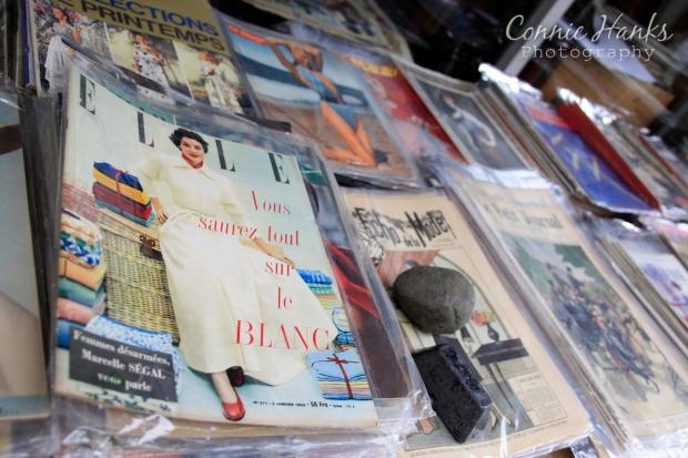 Connie Hanks Photography // ClickyChickCreates.com // Paris Flea Market - vintage fashion magazines - Elle, Echo de la Mode