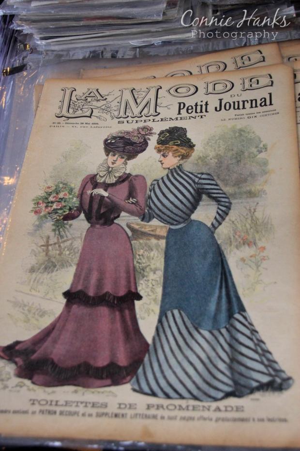 Connie Hanks Photography // ClickyChickCreates.com // Paris Flea Market - vintage fashion magazines - La Mode du Petit Journal