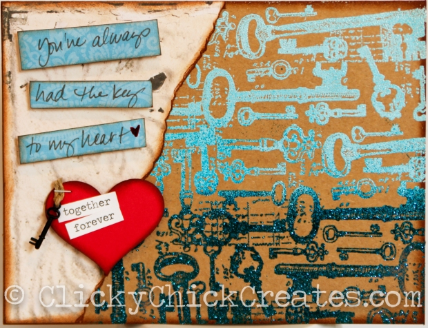 Connie Hanks Photography // ClickyChickCreates.com // You've Always Had the Key to My Heart card, embossed, gradient, distressed, manly, metal key embellishment