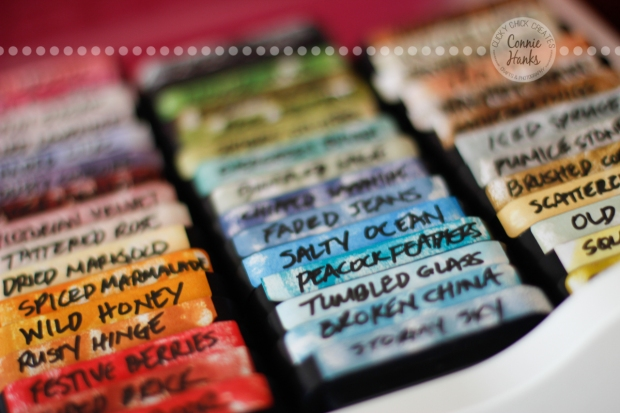 Connie Hanks Photography // ClickyChickCreates.com // Tim Holtz Distress Inks collection, organized by color family
