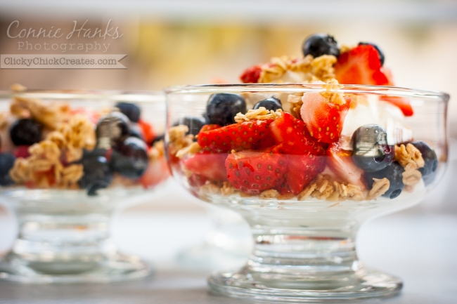 Connie Hanks Photography // ClickyChickCreates.com // parfaits with strawberry, blueberry, yogurt, granola and honey