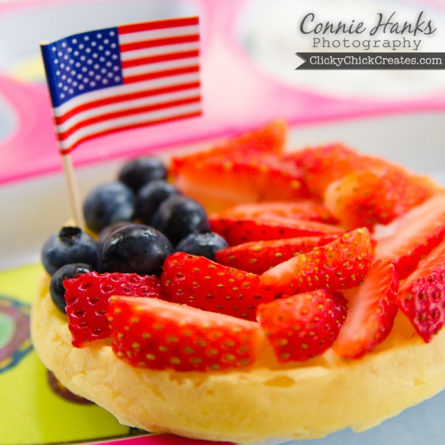 Connie Hanks Photography  //  ClickyChickCreates.com  //  Patriotic breakfast waffle with red strawberries, blue blueberries and American flag