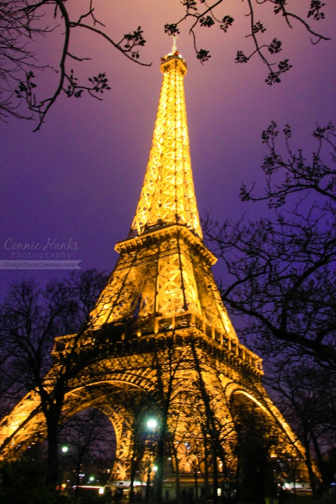 Connie Hanks Photography // ClickyChickCreates.com // Eiffel Tower, Paris, France framed by branches at night with lights and blue purple sky