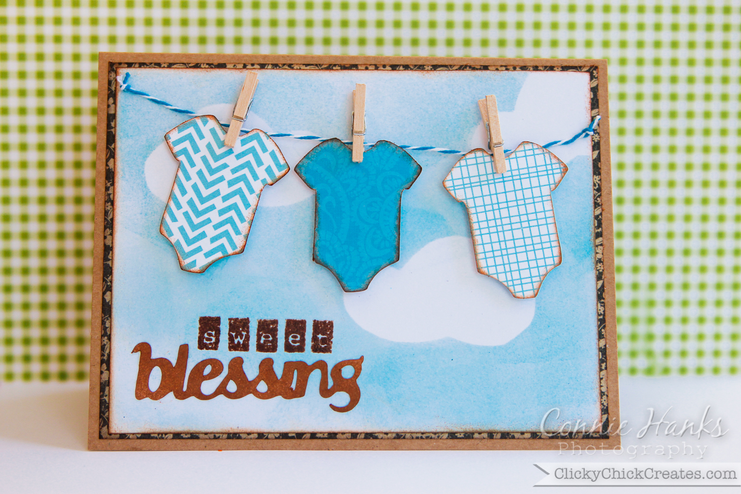 ClickyChickCreates.com // Sweet Blessing Baby Boy Shower Card With Onesies  On A Clothesline