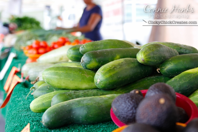 Connie Hanks Photography  //  ClickyChickCreates.com  //  cucumber, avocado, tomato and other fresh produce at farmer's market