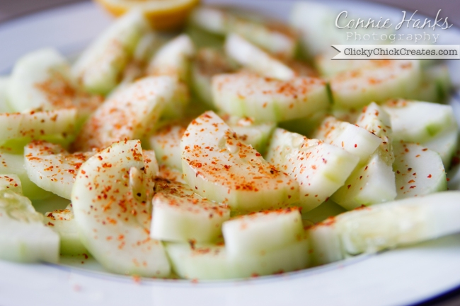 Connie Hanks Photography  //  ClickyChickCreates.com  //  cucumber, lemon and chili, Mexican childhood snack