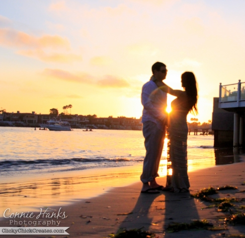 Connie Hanks Photography  //  ClickyChickCreates.com  //  Golden hour beach silhouette of pregnant Mandy and Ryan in Corona Del Mar private beach
