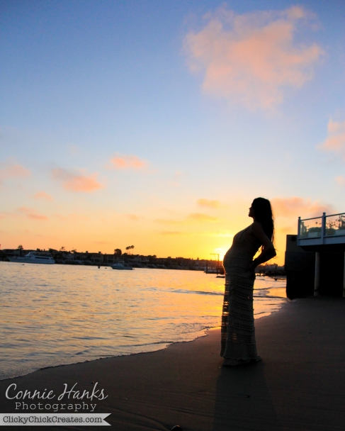 Connie Hanks Photography  //  ClickyChickCreates.com  //  Golden hour beach silhouette of pregnant Mandy in Corona Del Mar private beach