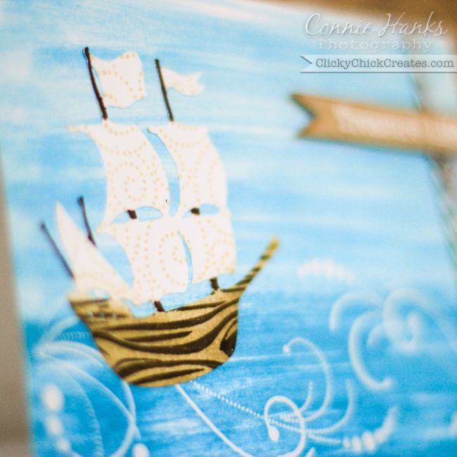 Connie Hanks Photography // ClickyChickCreates.com // nautical card featuring ship, waves in the ocean and treasure life sentiment