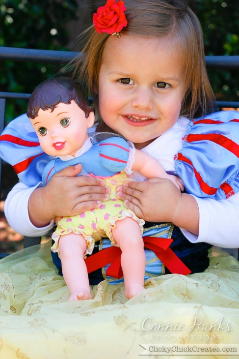 Connie Hanks Photography  //  ClickyChickCreates.com  //  Princess Snow White and her baby doll / mini me
