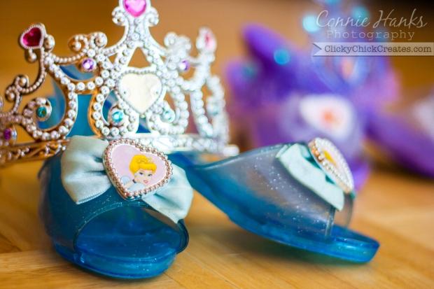 Connie Hanks Photography  //  ClickyChickCreates.com  //  Cinderella princess shoes and tiara