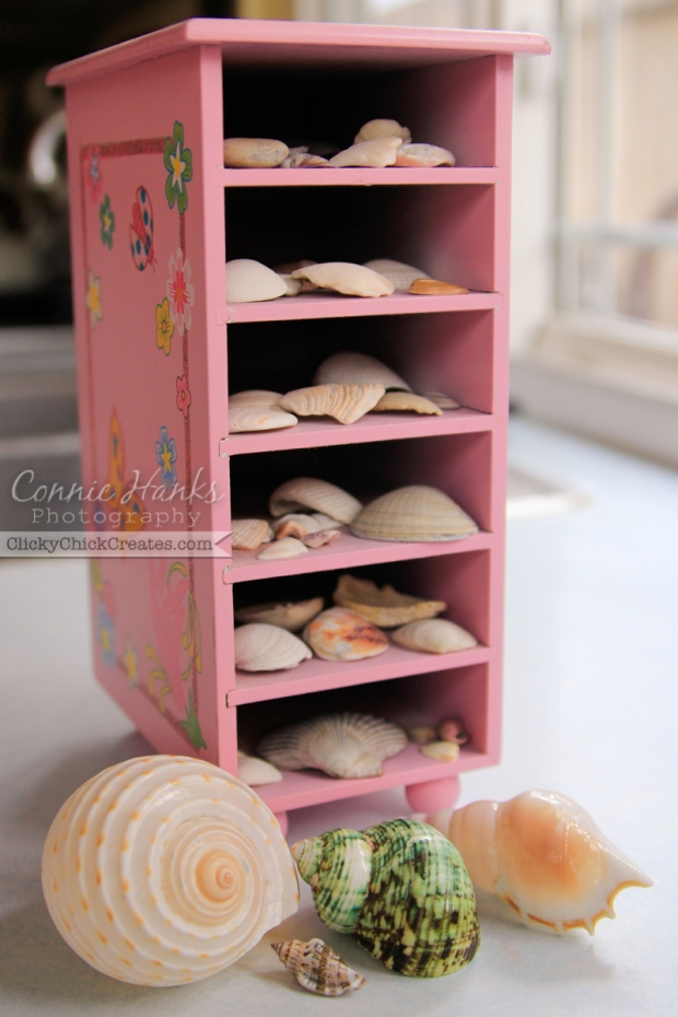 Connie Hanks Photography // ClickyChickCreates.com // seashell collection in a jewelry box tower