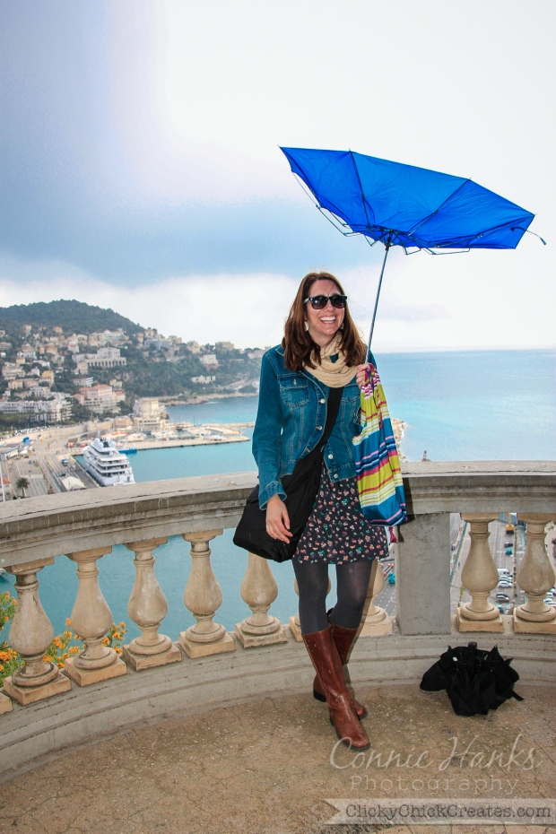 Connie Hanks Photography // ClickyChickCreates.com // carefree in the south of France - upside down umbrella in Cote d'Azur