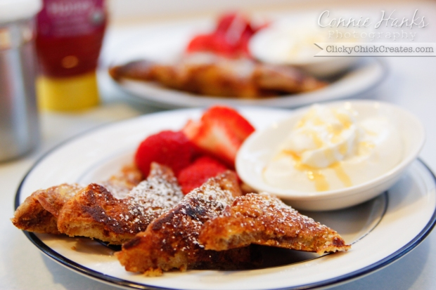 Connie Hanks Photography // ClickyChickCreates.com // French Toast, Greek yogurt, honey, strawberry breakfast
