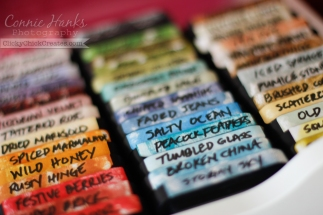 Connie Hanks Photography // ClickyChickCreates.com // how I store my Tim Holtz Distress Ink collection! Used mailing labels cut in half, inked with color and labeled!