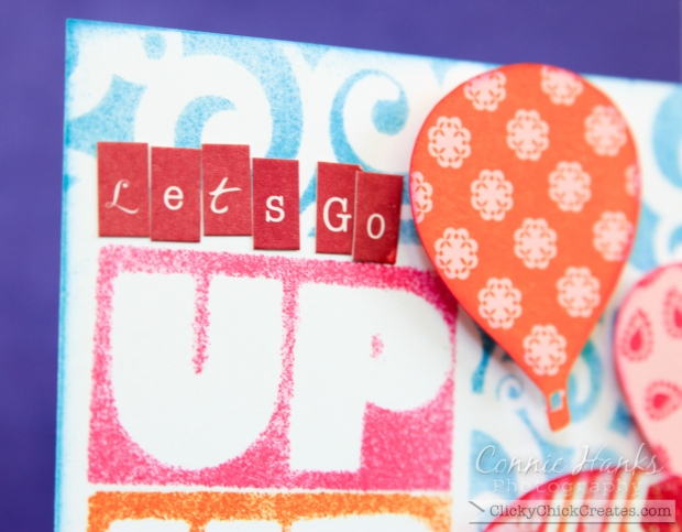 Connie Hanks Photography // ClickyChickCreates.com // Up, up, up hot air balloon card for Curtain Call challenge
