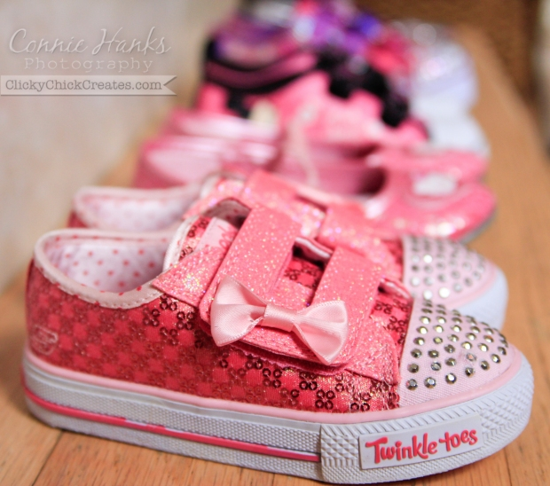 Connie Hanks Photography // ClickyChickCreates.com // back-to-school shoe shopping; two little girls, five pairs of shoes, all PINK!