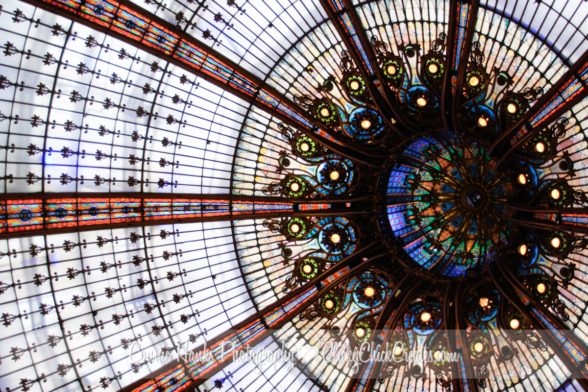Connie Hanks Photography // ClickyChickCreates // Les Galeries Lafayette stained glass dome ceiling