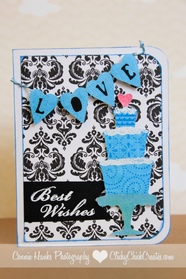 Connie Hanks // ClickyChickCreates.com // wedding cards with wedding cake and love banner