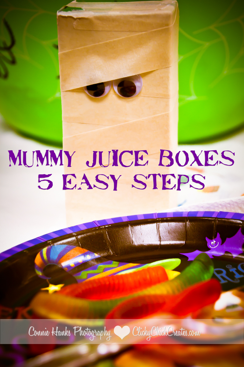 Connie Hanks Photography // ClickyChickCreates.com // Mummy Juice Boxes in 5 easy steps - perfect party drinks for pre-schoolers and young elementary aged kids