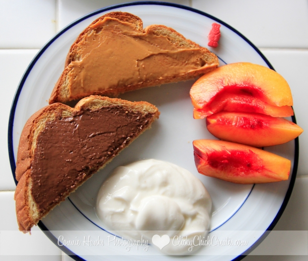 Connie Hanks Photography // ClickyChickCreates.com // typical breakfast - toast with peanut butter, nutella, yogurt, fruit, vitamin
