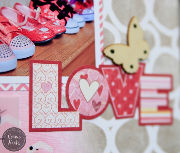 ClickyChickCreates.com // using stencils and inks, vellum and Washi tape to create custom scrapbook pages