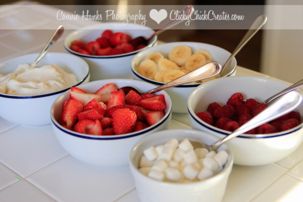 Connie Hanks Photography // ClickyChickCreates.com // pancake breakfast bar - strawberries, raspberries, bananas, whipped cream and marshmallows