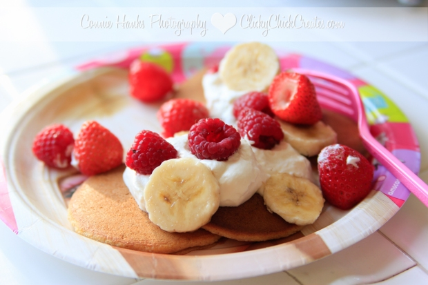 Connie Hanks Photography // ClickyChickCreates.com // breakfast bar pancakes with strawberries, bananas, raspberries and homemade whipped cream
