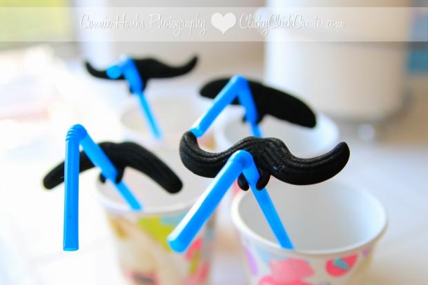 Connie Hanks Photography // ClickyChickCreates.com // pancake breakfast bar milk mustache straws