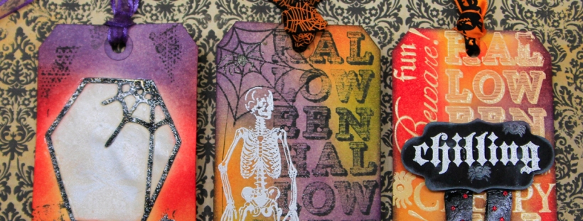 ClickyChickCreates.com // Halloween tags for ScrapHappy tag swap