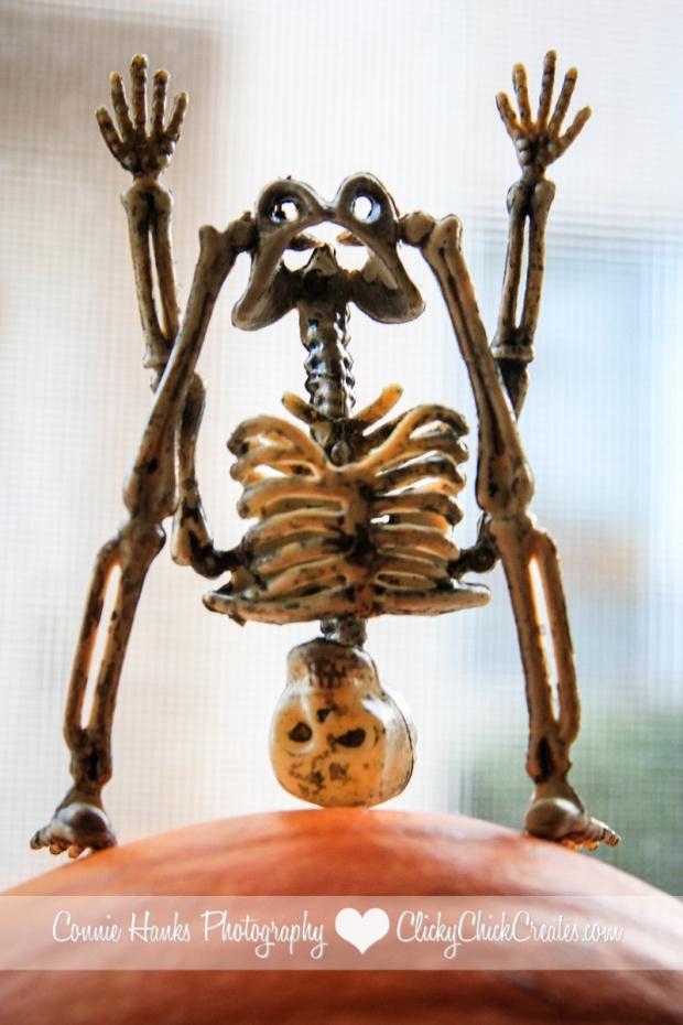 Connie Hanks // ClickyChickCreates.com // yoga skeleton balancing on a mini pumpkin!