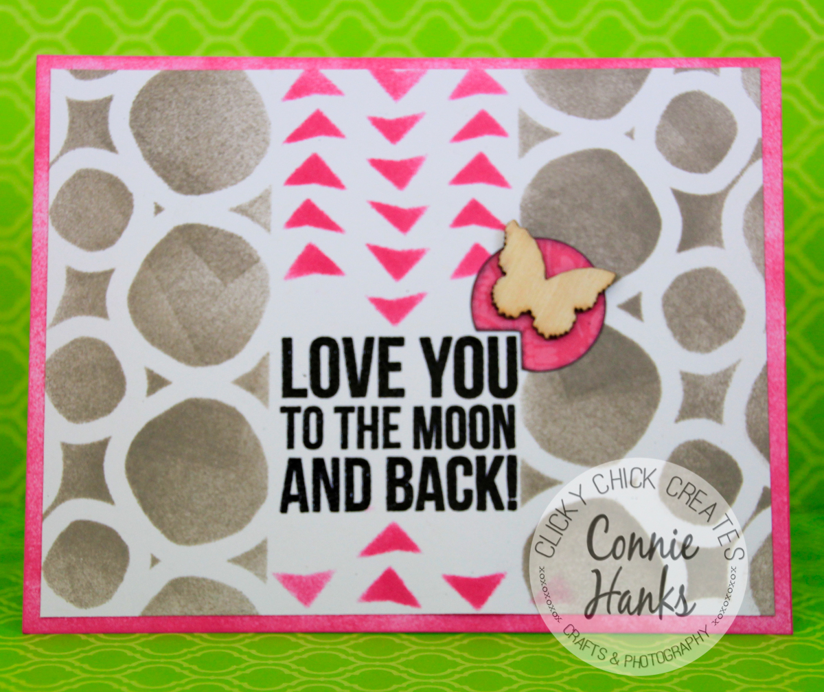 Connie Hanks // ClickyChickCreates.com // card using stencils by FolkArt and Studio Calico Mister Huey's, Tim Holtz Distress Inks and embossed sentiment