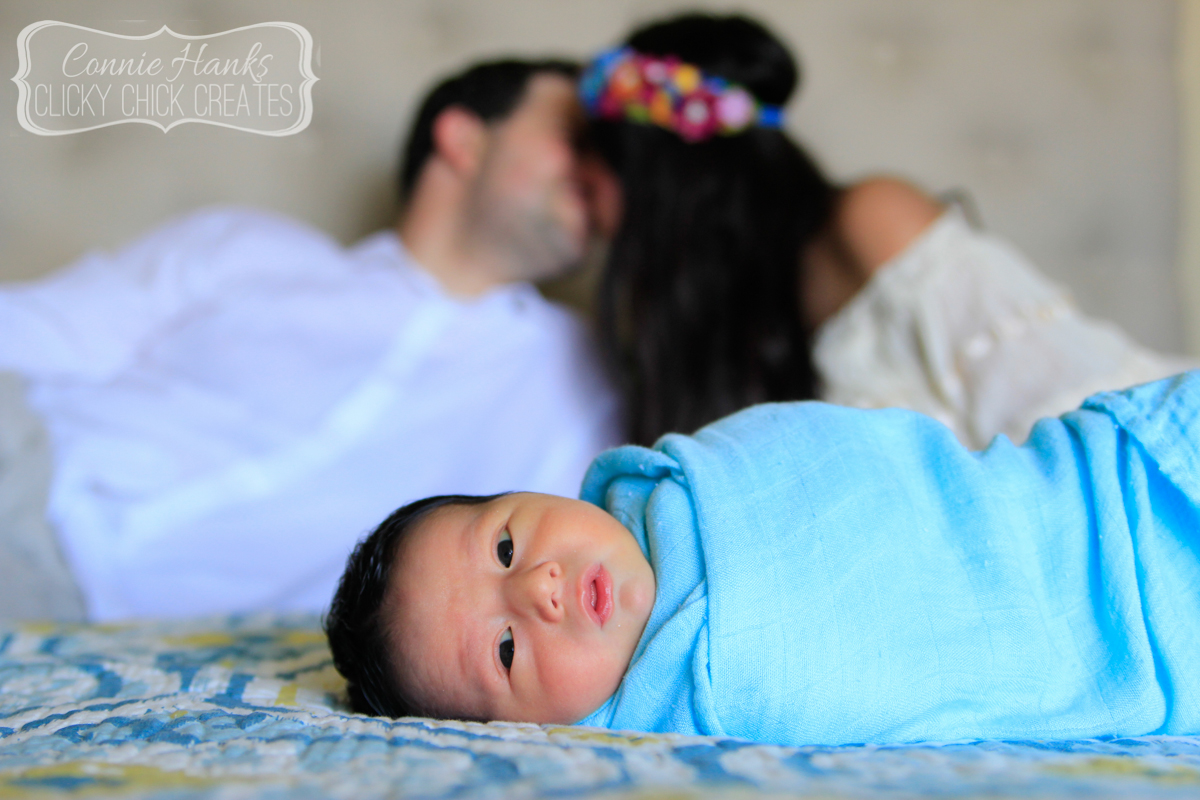 Connie Hanks Photography // ClickyChickCreates.com // newborn session, swaddle, love, young family, bohemian, boho chic,