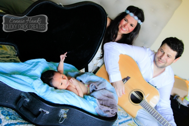 Connie Hanks Photography // ClickyChickCreates.com // newborn session, swaddle, guitar, love, young family, bohemian, boho chic,