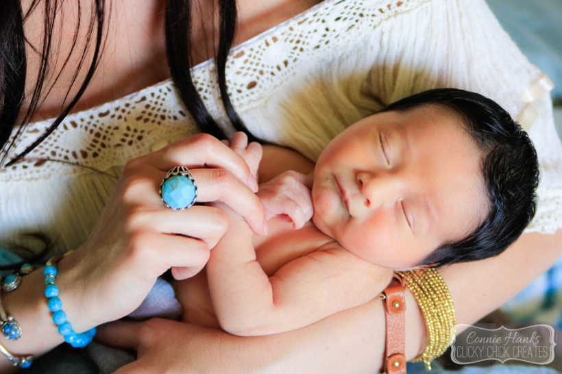 Connie Hanks Photography // ClickyChickCreates.com // newborn session, swaddle, love, young family, bohemian, boho chic, sleeping baby, turquoise, big ring