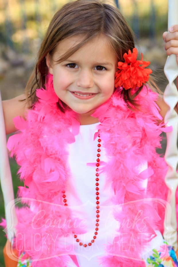 Connie Hanks // ClickyChickCreates.com // dress up, boa, beads, flowers, little girl