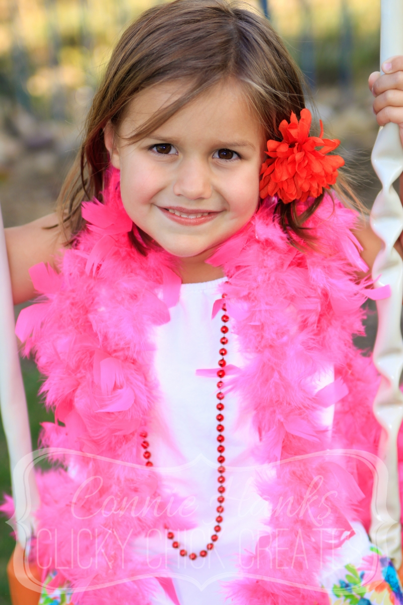 Connie Hanks // ClickyChickCreates.com // dress up, boa, beads, flowers, little girl