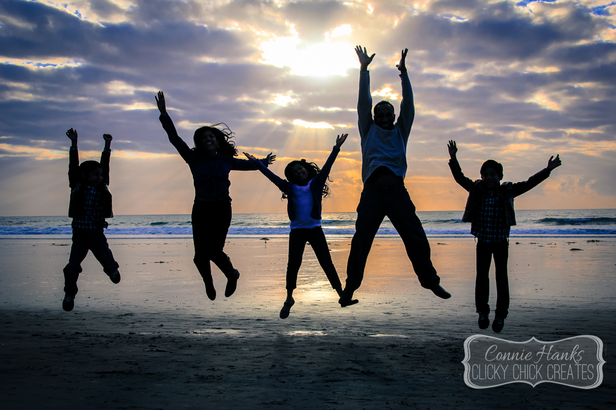 Connie Hanks Photography // ClickyChickCreates.com // family of five silhouette, Del Mar, beach, sunset, jump