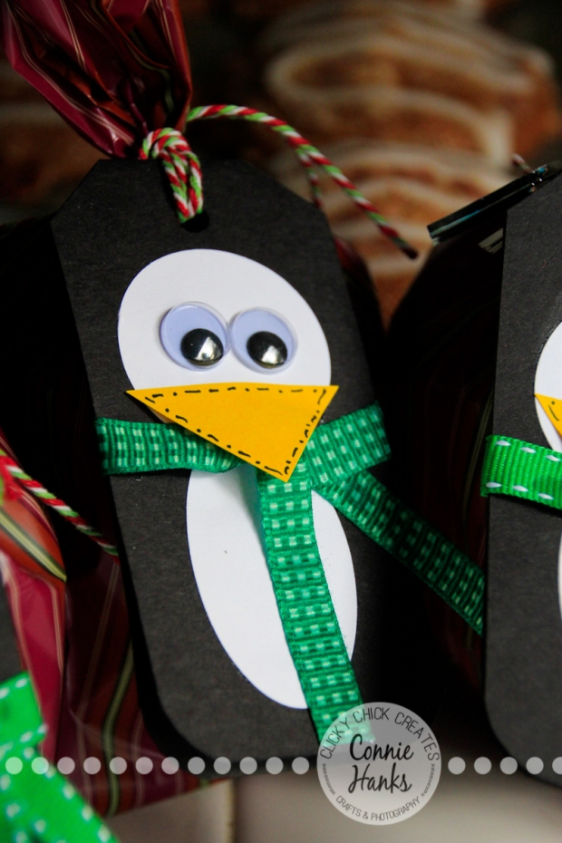 Connie Hanks Photography // ClickyChickCreates.com // Penguin gift tags, handmade, paper crafting, google eyes, goodie treat bags