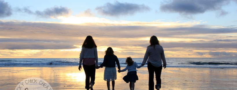 Connie Hanks Photography // ClickyChickCreates.com // family photos at the beach, mother and daughters, silhouette