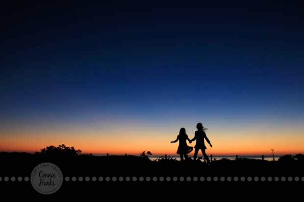 Connie Hanks Photography // ClickyChickCreates.com // silhouette at the beach, twinkle star, sunset, play, girls, sisters