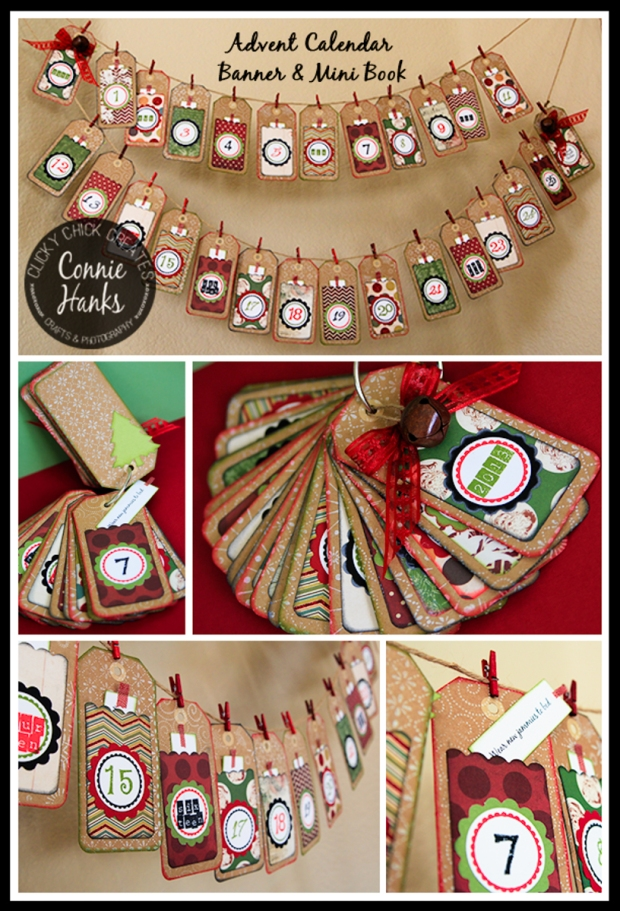 Connie Hanks // ClickyChickCreates.com // vintage Christmas banner, Advent calendar, banner, mini book, traditions, experiences, family