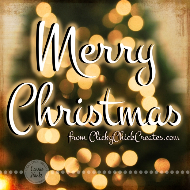 Connie Hanks Photography // ClickyChickCreates.com // Merry Christmas, tree, bokeh, texture