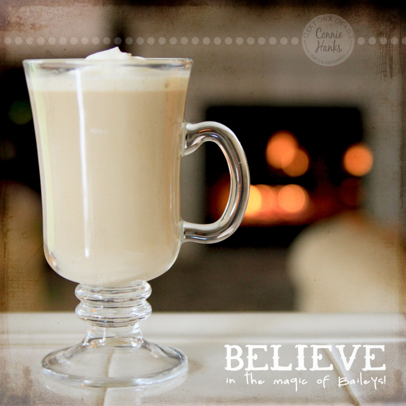 Connie Hanks Photography // ClickyChickCreates.com // Baileys and coffee with a touch of whipped cream, roaring fire, bokeh