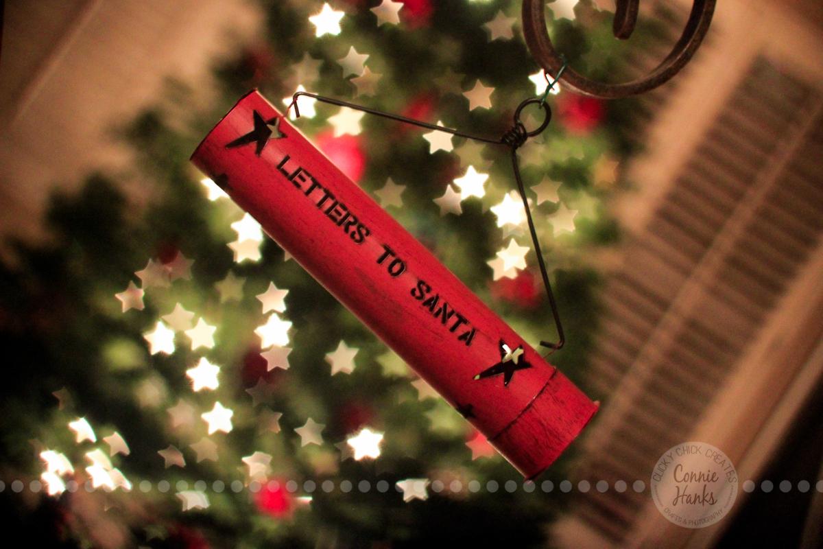 Connie Hanks Photography // ClickyChickCreates.com // letters to Santa ornament, bokeh, Christmas tree, star shaped bokeh, holiday, festive