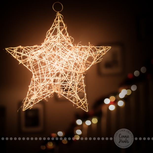 Connie Hanks Photography // ClickyChickCreates.com // Christmas, bokeh, star, straw, twig art, stairs, banister, decor