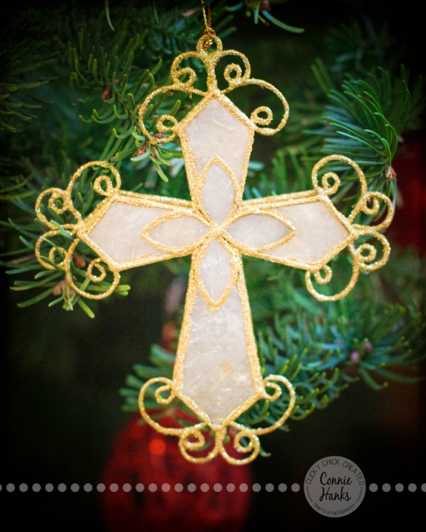 Connie Hanks Photography // ClickyChickCreates.com // Merry Christmas, tree, cross, capiz, delicate, gold