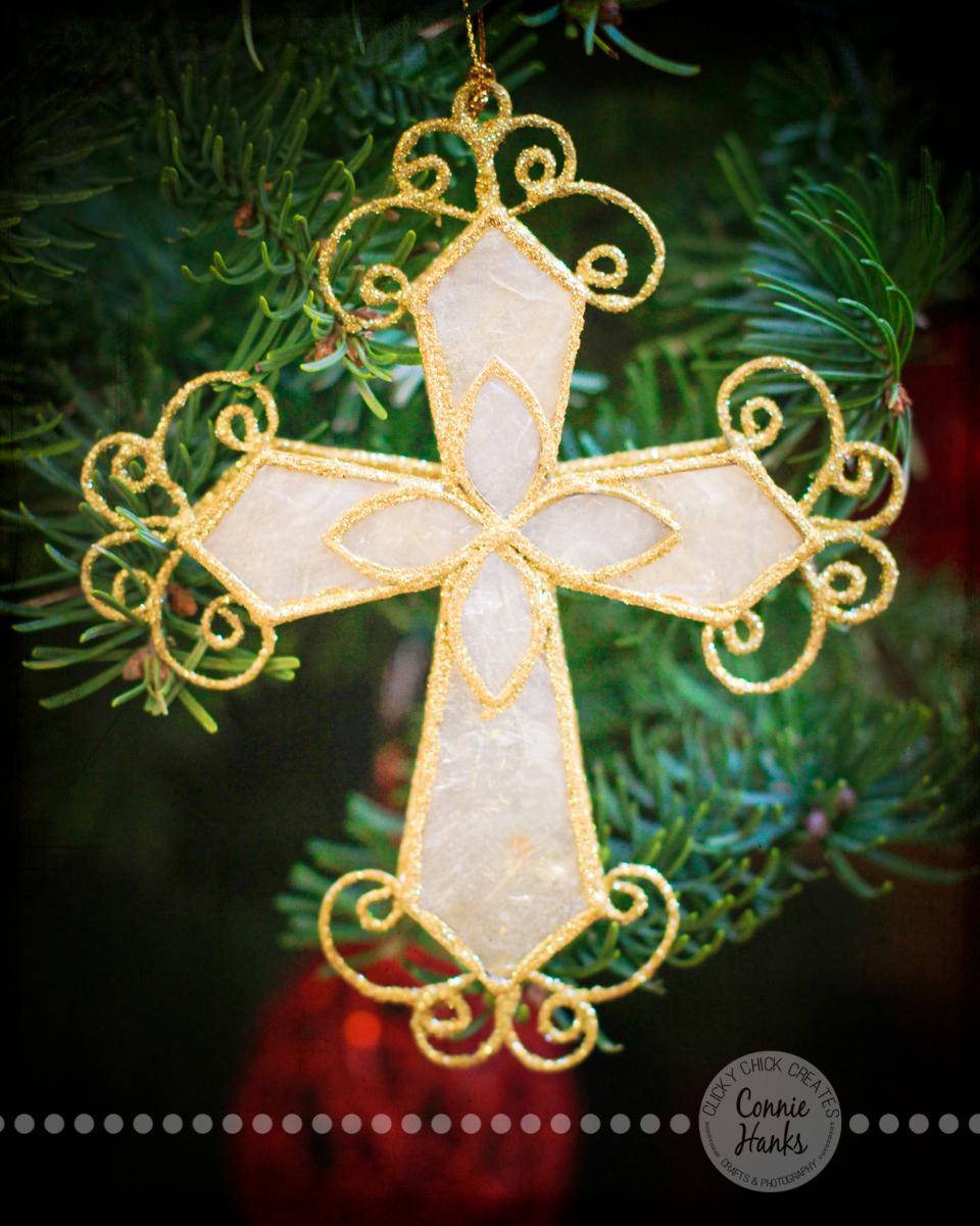 Connie Hanks Photography // ClickyChickCreates.com // Merry Christmas, tree, cross, capiz, delicate, gold