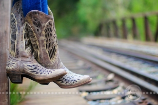 Connie Hanks Photography // ClickyChickCreates.com // rustic, train, tracks, cowboy, cowgirl, boots, perspective